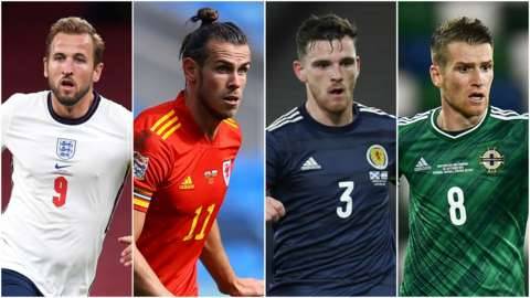Left to right: England's Harry Kane, Wales' Gareth Bale, Scotland's Andrew Robertson and Northern Ireland's Steven Davis