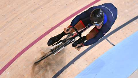 Callum Skinner competes in Heat 2 of Track Cycling: Men's Sprint Quarterfinals at Rio Olympics 2016