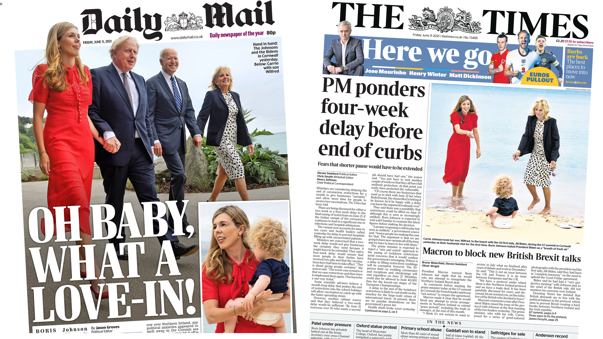 Daily Mail and the Times front page