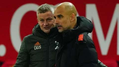 Manchester United boss Ole Gunnar Solskjaer and Manchester City boss Pep Guardiola