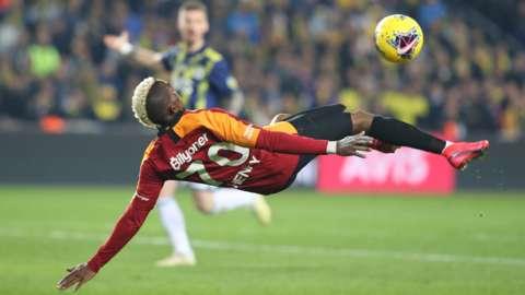 Nigeria striker Henry Onyekuru with a scissor kick while playing for Galatasaray