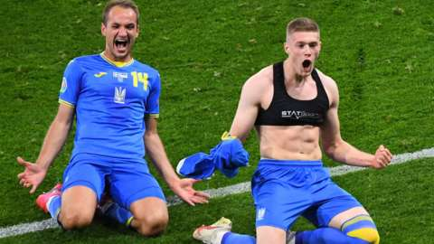 Artem Dovbyk scored his first goal for Ukraine to set up a meeting with England in the last eight of Euro 2020
