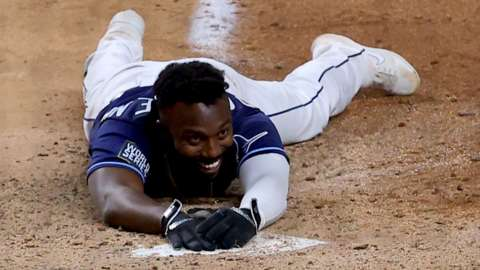 Randy Arozarena smiles after winning game four for the Tampa Bay Rays