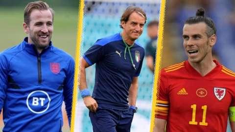 Harry Kane, Roberto Mancini and Gareth Bale