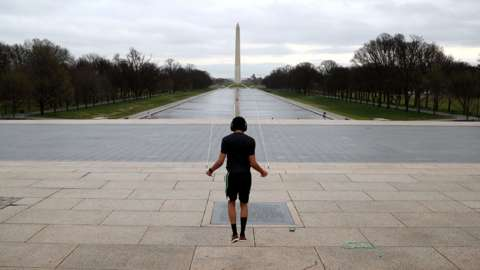 Man skipping on National Mall in DC