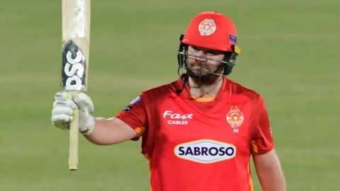 Paul Stirling acknowledges applause after reaching his half century in Karachi