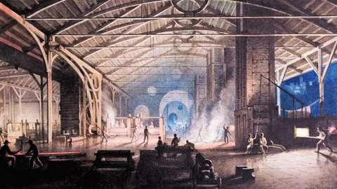 Cyfarthfa Ironworks Interior at Night', by Penry Williams, 1825