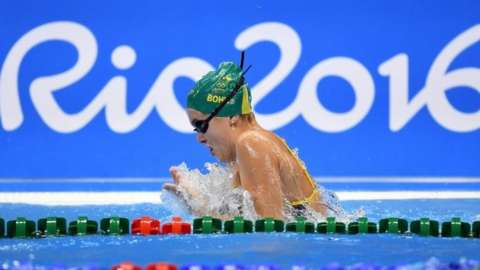 Australian swimmer Georgia Bohl swims during the team's first training session at the Rio Olympic Games Aquatics Centre in Rio de Janeiro (01 August 2016)