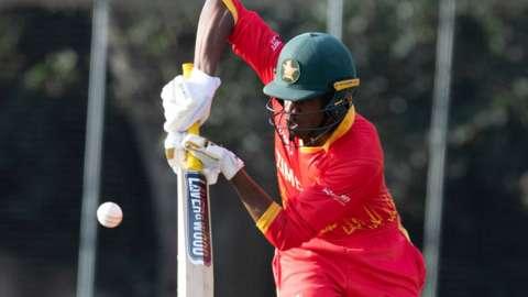 Zimbabwe's Milton Shumba during a T20 International match between Scotland and Zimbabwe