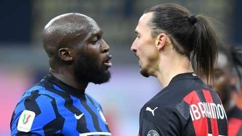 Inter's Romelu Lukaku and Milan's Zlatan Ibrahimovic clash