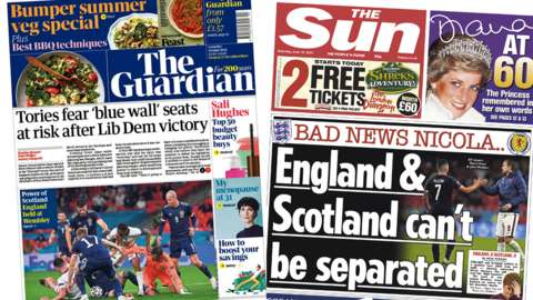 Guardian and Sun front pages gfor 19/06/21