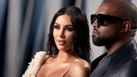 Kim Kardashian and Kanye West in 2020