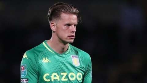 Orjan Nyland playing for Aston Villa against Burton Albion in the Carabao Cup
