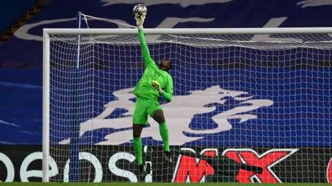 Senegal and Chelsea goalkeeper Edouard Mendy makes a save