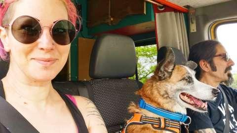 Missy (left) in her van