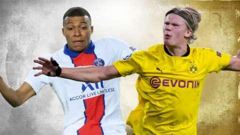 PSG's Kylian Mbappe and Borussia Dortmund's Erling Braut Haaland