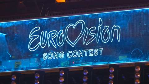 Eurovision Song Contest logo is seen during the 2020 Eurovision Song Contest (ESC) national selection show