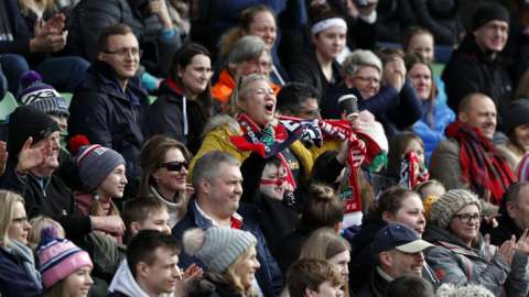 Wales fans at Wales v England women rugby international in March