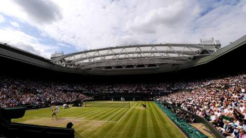A view inside Centre Court at Wimbledon during the 2019 men's singles final between Roger Federer and Novak Djokovic