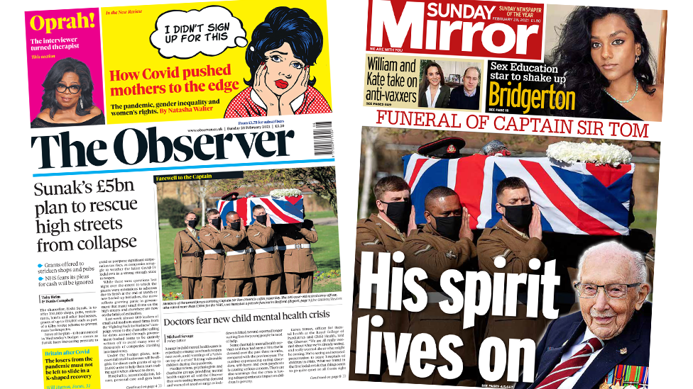 The Observer and the Sunday Mirror front pages 28 February 2021