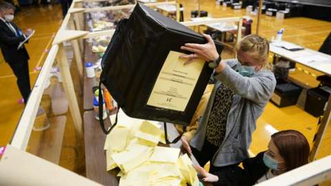 Ballot boxes being emptied at Mill House Leisure Centre in Hartlepool