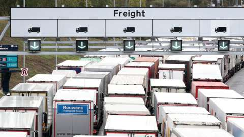 Lorries queuing for Eurotunnel in Folkestone, Kent