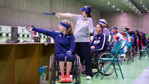 Action from the pistol events at the Rio Paralympics