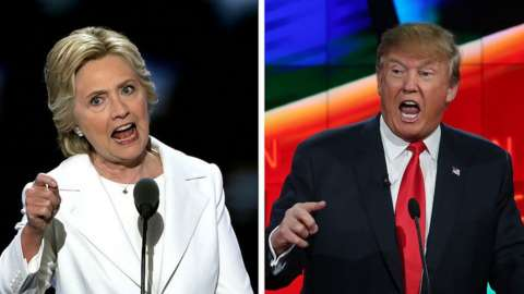 US Presidential Candidates Hillary Clinton (L) and Donald Trump