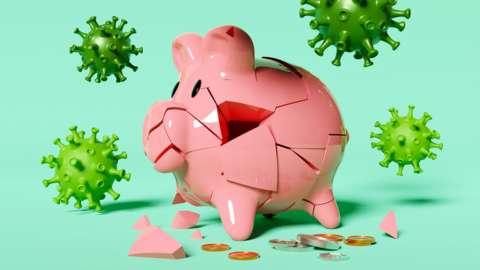 Piggy bank under attack from a virus