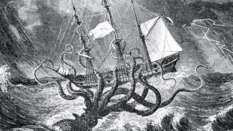 Illustration of an octopus-like sea monster rising up from the sea to devour a ship