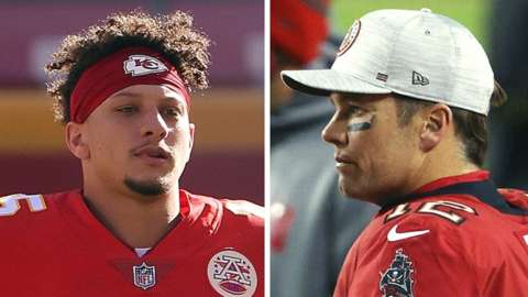 Separate pictures of Patrick Mahomes and Tom Brady