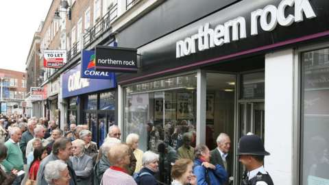 Customers queue outside a Northern Rock branch, 17 September 2007