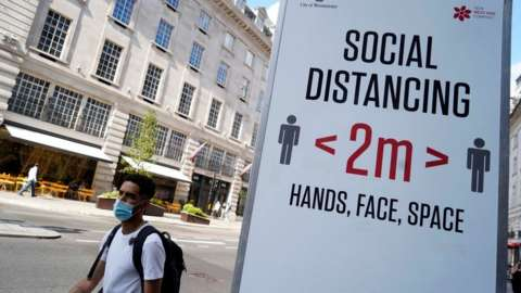 Social distancing sign in London