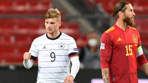 Timo Werner celebrates scoring for Germany against Spain