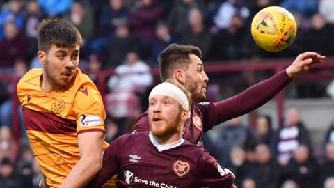 Motherwell and Hearts players