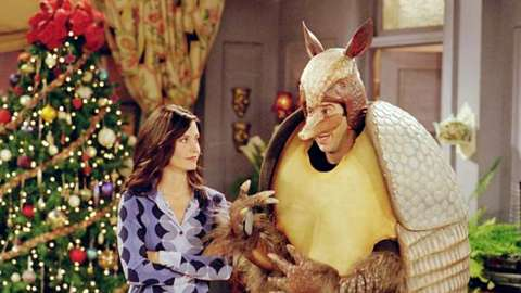 The Friends character Ross dressed up as an armadillo