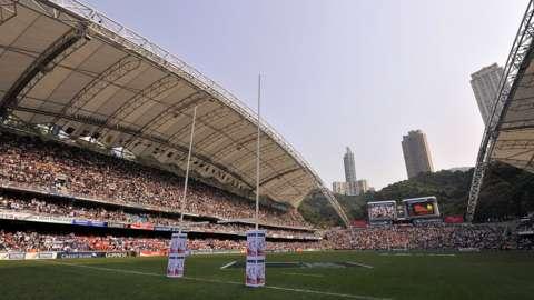 Wide shot of the Hong Kong sevens stadium