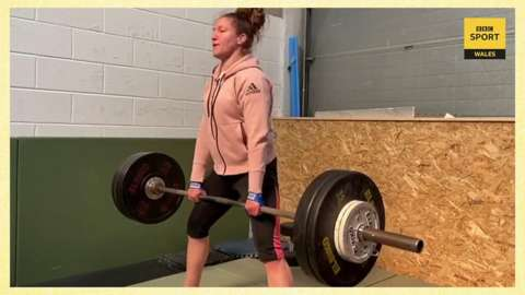 Judoka Natalie Powell trains at home