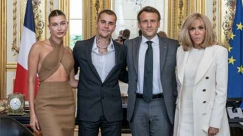 Justin Bieber and his wife Hailey Baldwin with French President Emmanuel Macron and his wife Brigitte Macron