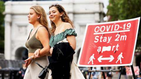 Two young women next to a social distancing sign
