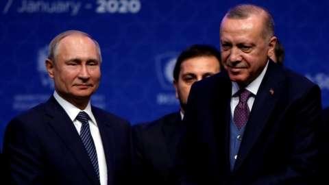 Turkish President Tayyip Erdogan, right, and Russian President Vladimir Putin last month