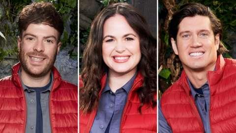 I'm A Celebrity contestants Jordan North, Giovanna Fletcher and Vernon Kay