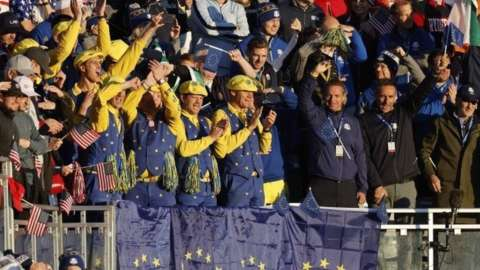 Fans on the first tee at the Ryder Cup