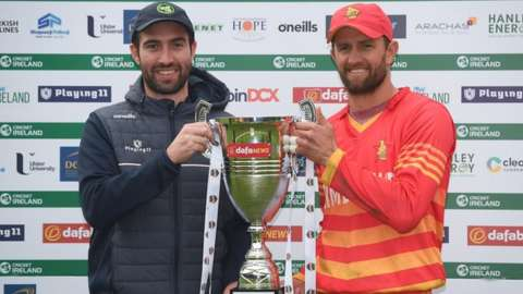 Captains Andrew Balbirnie and Craig Ervine with the ODI series trophy