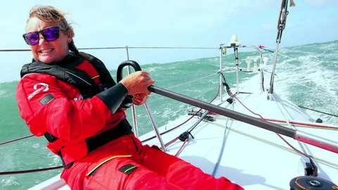 Skipper Pip Hare on her boat