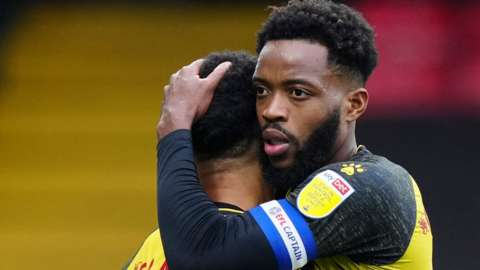 Nathaniel Chalobah and Andre Gray celebrate