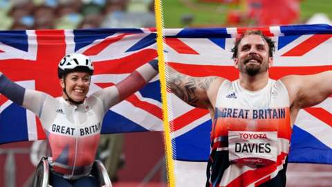 Hannah Cockroft and Aled Sion Davies celebrating with Union Jacks