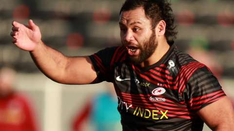 Billy Vunipola shouts to his Saracens team-mates