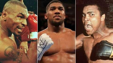 Mike Tyson, Anthony Joshua and Muhammed Ali