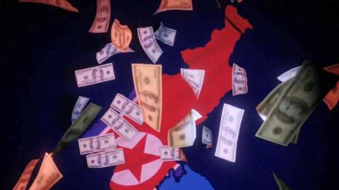 North Korean flag surrounded by dollars